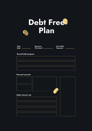 Debt Free Plan in black Schedule Planner Modelo de Design
