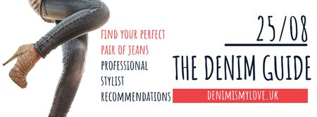 Ontwerpsjabloon van Facebook cover van The denim guide Website Ad