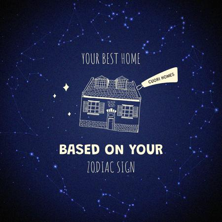 Real Estate Ad with House in Cosmos Instagram – шаблон для дизайну