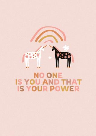 Girl Power Inspiration with Cute Unicorns Poster Design Template