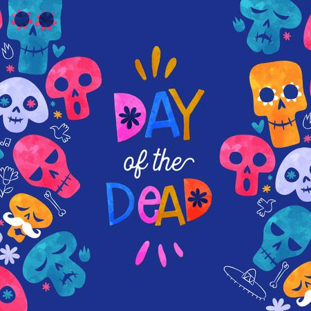 Day of the Dead Celebration Announcement with Funny Skulls Animated Post – шаблон для дизайна