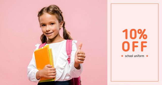 Plantilla de diseño de School Uniform Offer with Girl Pupil Facebook AD