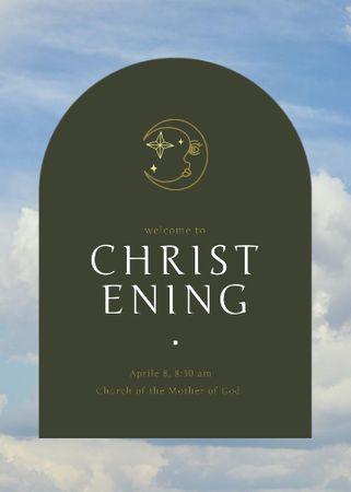 Christening Announcement with Moon Illustration Invitation – шаблон для дизайна