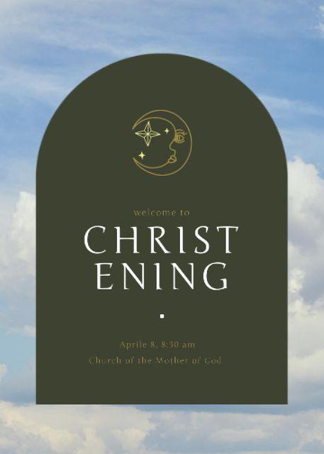 Christening Announcement with Moon Illustration Invitationデザインテンプレート