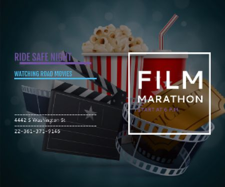 Ontwerpsjabloon van Medium Rectangle van Film marathon night