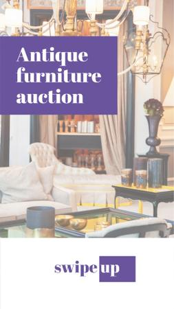 Antique Furniture Auction Announcement Instagram Story – шаблон для дизайну