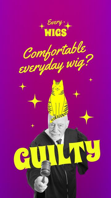 Modèle de visuel Funny Old Man with Cat on Head - Instagram Story