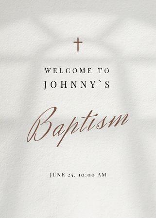 Baby's Baptism Announcement with Church Window Shadow Invitation – шаблон для дизайну