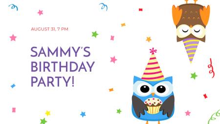 Plantilla de diseño de Birthday Party Announcement with Cute Owls FB event cover