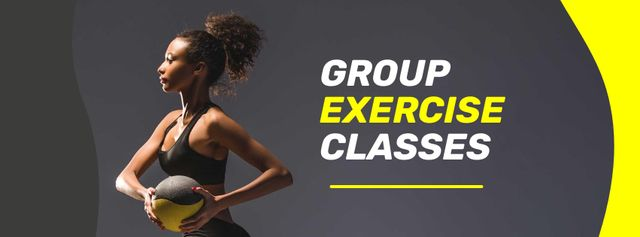 Group Exercise Classes Offer with Athletic Woman Facebook coverデザインテンプレート