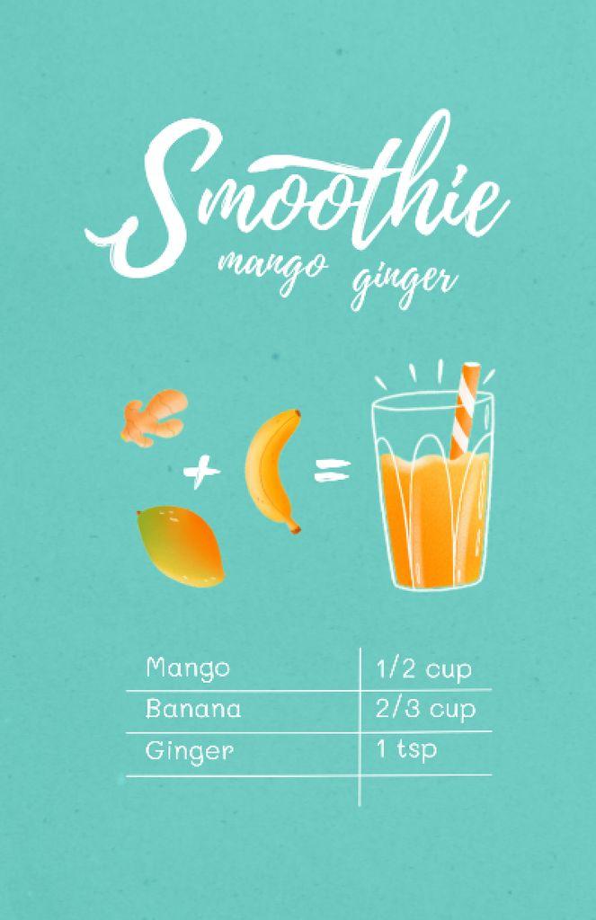 Mango Ginger Smoothie in Glass Recipe Card Modelo de Design