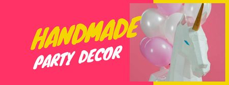 Toy Unicorn and Pink Festive Balloons Facebook cover – шаблон для дизайна