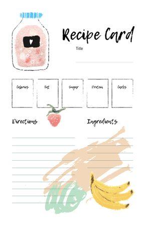 Ontwerpsjabloon van Recipe Card van Fruit Juice with Banana and Strawberry