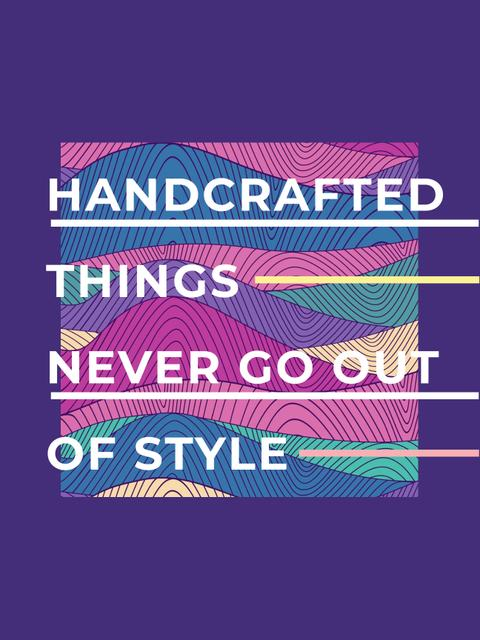 Handcrafted things Quote on Waves in purple Poster US – шаблон для дизайна