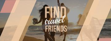 Travel motivational Quote with people running on sandy beach