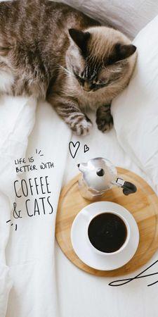 Designvorlage Cat with Morning Coffee für Graphic