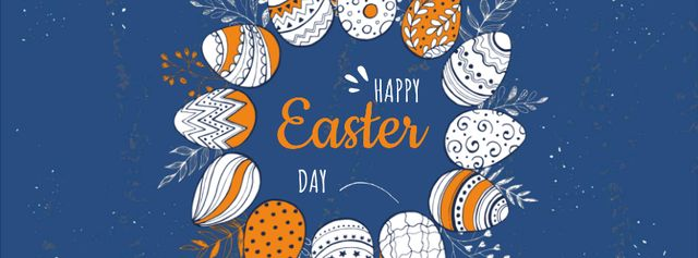 Colored Easter eggs wreath Facebook Video cover – шаблон для дизайна