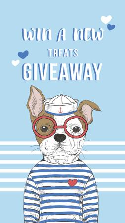 Treats for Pets Giveaway Offer with Funny Bulldog Instagram Storyデザインテンプレート