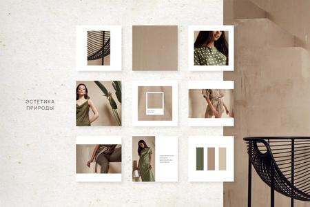 Woman in Stylish green Clothes Mood Board – шаблон для дизайна