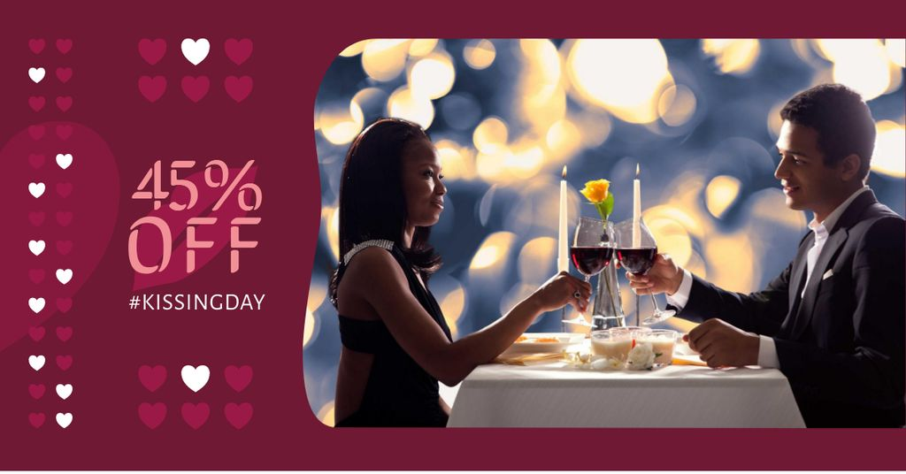 Kissing Day Offer with Couple in Restaurant — Maak een ontwerp