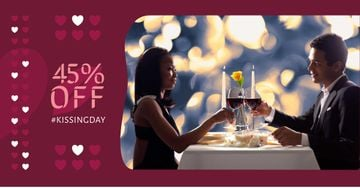 Kissing Day Offer with Couple in Restaurant