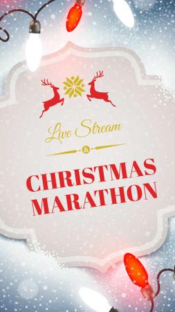 Plantilla de diseño de Christmas Marathon Announcement with Festive Deers Instagram Story
