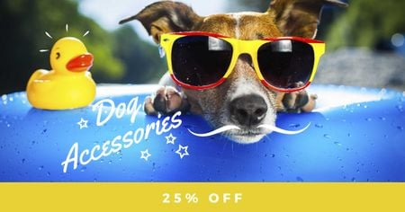 Szablon projektu Dog Accessories Offer with Funny Pet Facebook AD