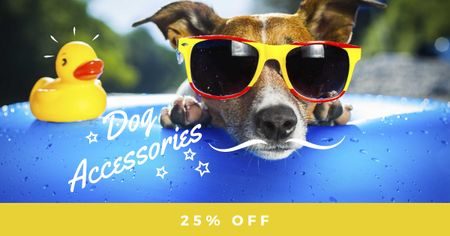 Dog Accessories Offer with Funny Pet Facebook ADデザインテンプレート