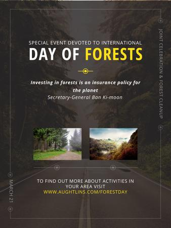 Plantilla de diseño de International Day of Forests Event Forest Road View Poster US
