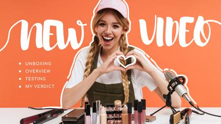Ontwerpsjabloon van Youtube Thumbnail van Blogger filming Beauty content