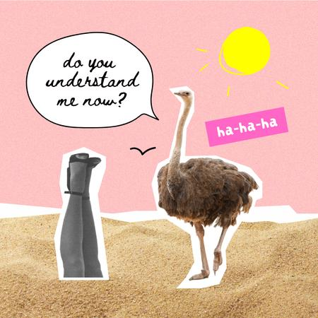 Modèle de visuel Funny Ostrich talking with Female Legs - Instagram