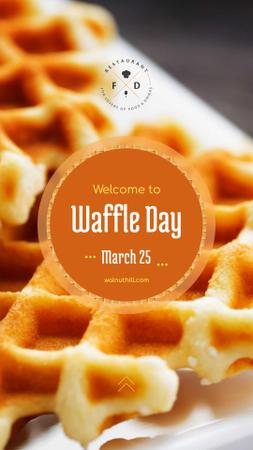 Hot delicious waffles on Waffle Day Instagram Story Modelo de Design