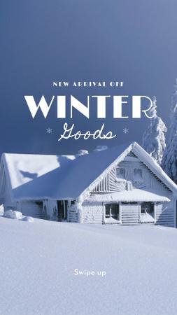 Plantilla de diseño de Winter Arrival Announcement with Snowy House Instagram Story