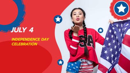 Modèle de visuel Independence Day Celebration with Girl sending Kiss - FB event cover