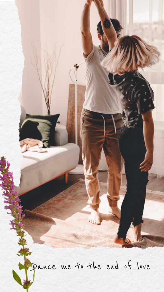 Plantilla de diseño de Loving Couple dancing at Home Instagram Story