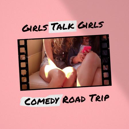 Designvorlage Happy Young Girls travelling für Animated Post