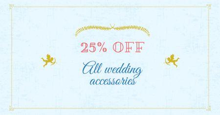 Ontwerpsjabloon van Facebook AD van Wedding Accessories Offer with Cupids