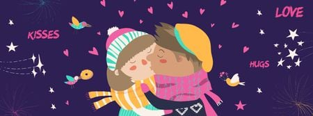 Modèle de visuel Valentine's Day Greeting with kissing Couple - Facebook cover