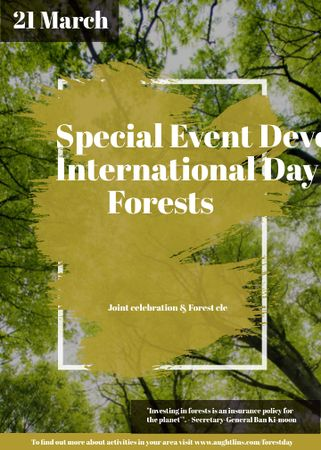 Plantilla de diseño de International Day of Forests Event Tall Trees Invitation