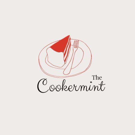 Ontwerpsjabloon van Logo van Sweets Shop Offer with Cake on Plate