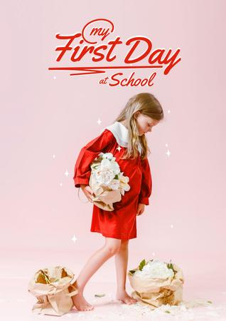 Back to School with Cute Little Girl Poster – шаблон для дизайна
