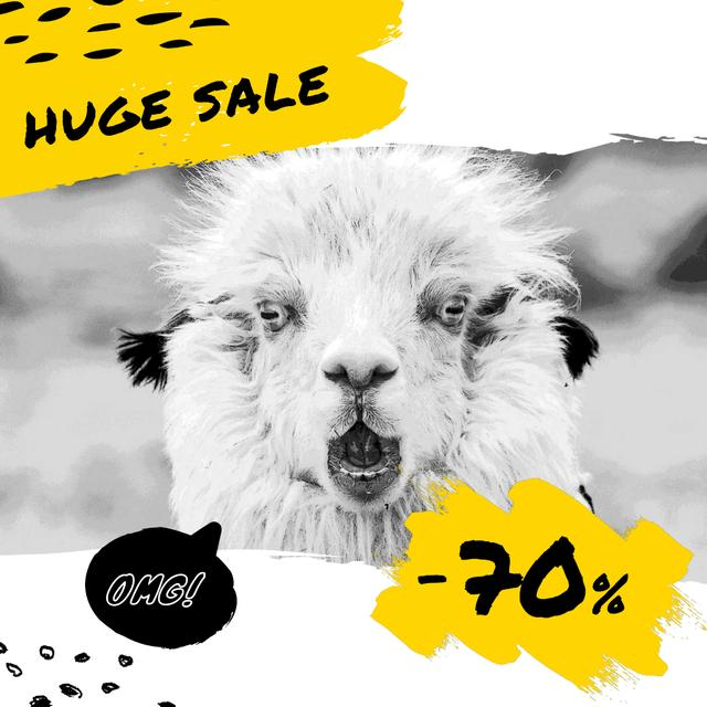Sale Announcement with Shocked Funny Lama Animated Post Modelo de Design