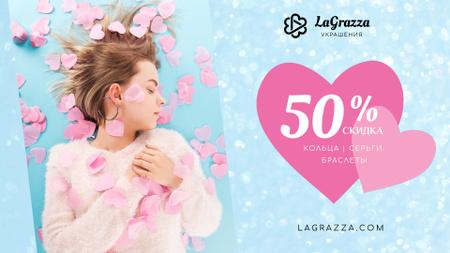 Jewelry Sale Woman in Pink Hearts Full HD video – шаблон для дизайна