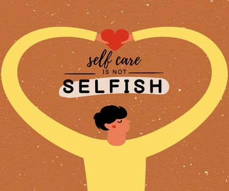 Ontwerpsjabloon van Facebook van Self Care Inspiration with Man holding Heart