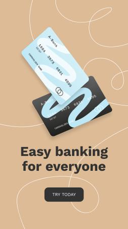 Banking Services ad with Credit Cards Instagram Storyデザインテンプレート