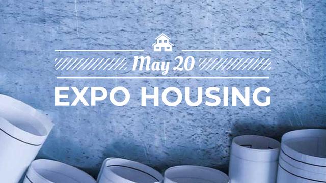 Plantilla de diseño de Construction Event with House plans in blue FB event cover