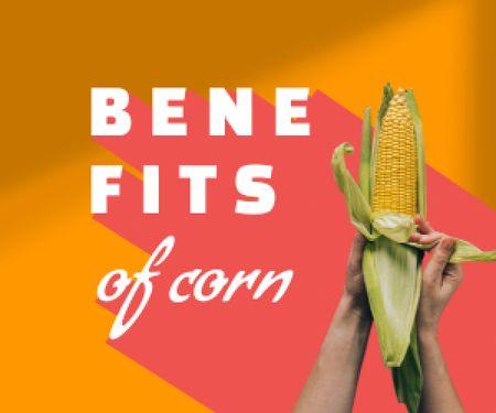 Plantilla de diseño de Fresh Corn in Hands Medium Rectangle
