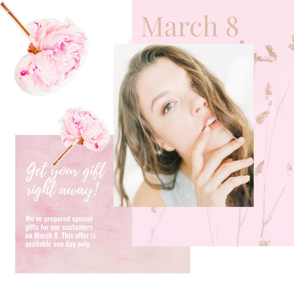 Beautiful girl with tender flowers — Modelo de projeto