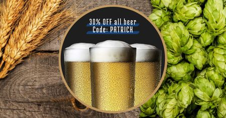 Ontwerpsjabloon van Facebook AD van St. Patrick's Day Discount Offer with Beer