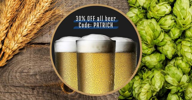 St. Patrick's Day Discount Offer with Beer Facebook AD Modelo de Design
